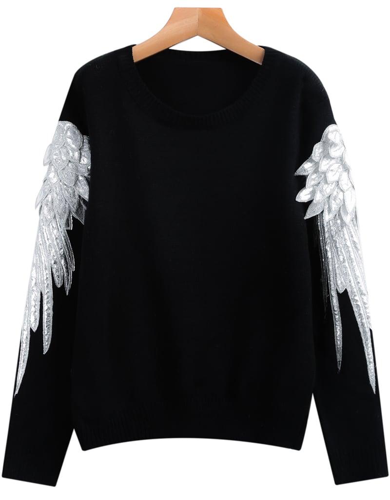 Black Long Sleeve Wing Knit Sweater -SheIn(Sheinside)