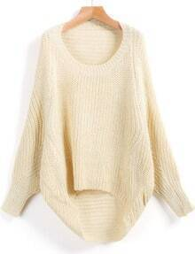 Apricot Long Sleeve Dipped Hem Loose Sweater