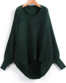 Green Dipped Hem Ribbed Lose Sweater