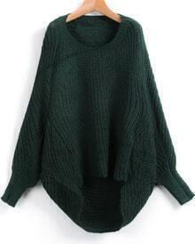 Green Dipped Hem Ribbed Lose Sweater