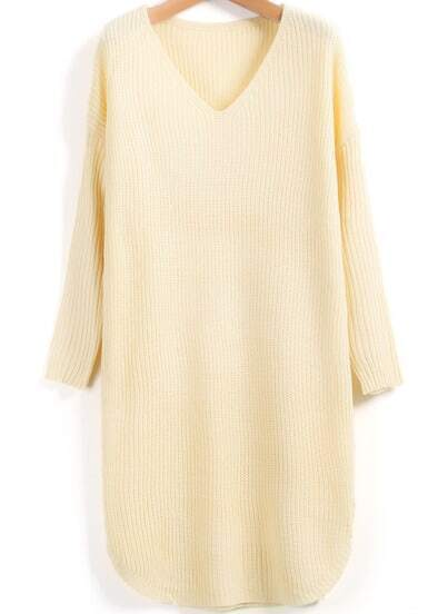 Apricot V Neck Long Sleeve Loose Sweater