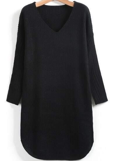 Black V Neck Long Sleeve Loose Sweater