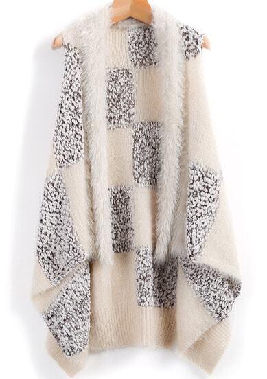 Apricot Sleeveless Plaid Knit Cardigan