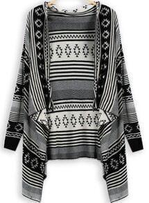 Black Long Sleeve Vintage Striped Cardigan