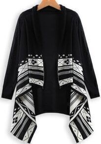 Black Long Sleeve Geometric Print Cardigan