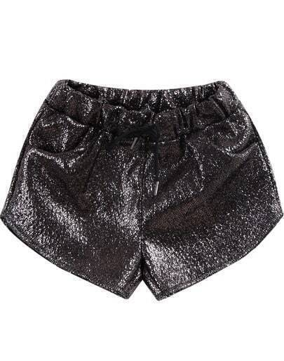 Gold Elastic Waist Pockets Shorts