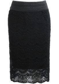 Black Floral Crochet Lace Skirt