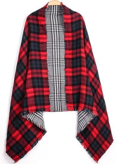 Red Blue Plaid Fringe Scarve