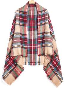 Red Classic Plaid Fringe Scarve