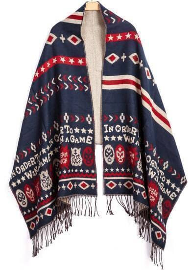 Navy Tiger Print Knit Scarve