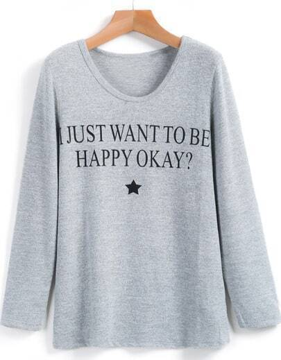 Grey Long Sleeve Letters Print T-Shirt