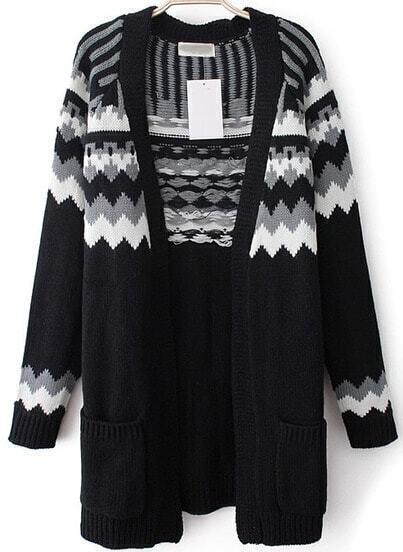 Black Long Sleeve Zigzag Pockets Knit Cardigan