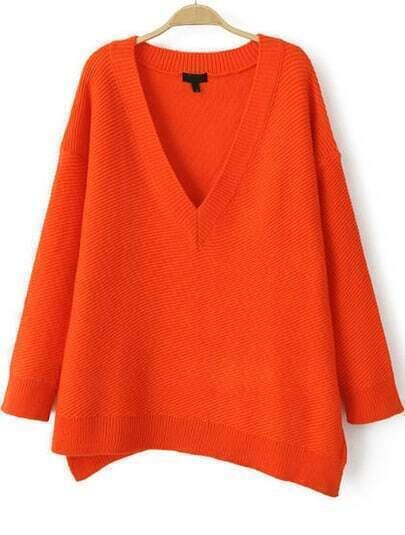 Orange V Neck Long Sleeve Asymmetrical Knit Sweater