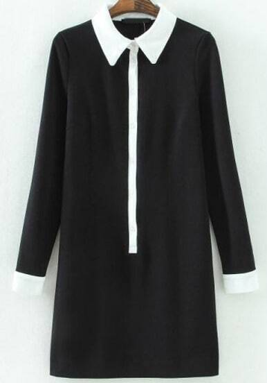 Black Contrast Lapel Long Sleeve Slim Dress