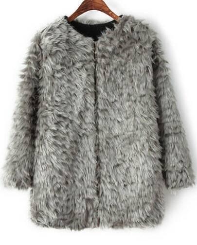 Grey Long Sleeve Faux Fur Coat