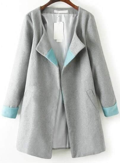 Grey Long Sleeve Loose Woolen Trench Coat