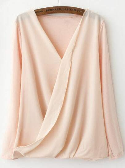 Pink V Neck Long Sleeve Asymmetrical Blouse