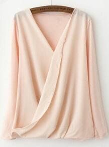 Pink V Neck Long Sleeve Asymmetrical Blouse