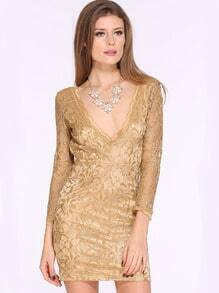 Champagne Hollow Lace V Neck Party Dress