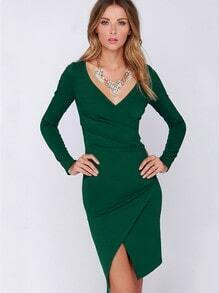Green Long Sleeve V Neck Split Dress