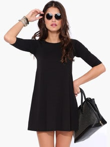 Black Half Sleeve Casual Dress