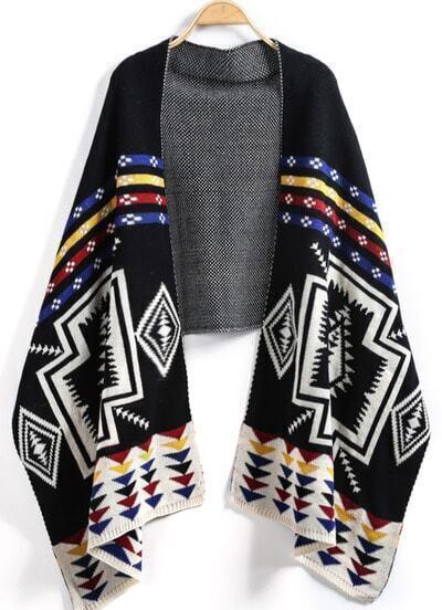 Black Geometric Print Knit Scarve