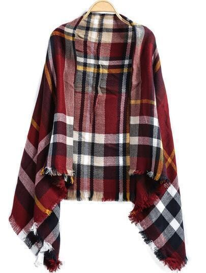 Wine Red Plaid Fringe Scarve