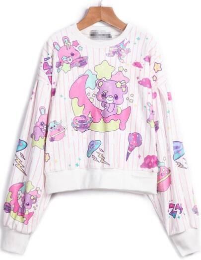 White Long Sleeve Bear Print Crop Sweatshirt