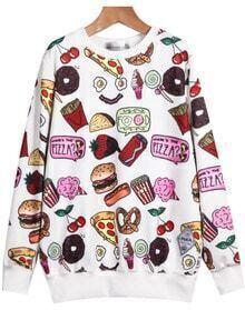 White Long Sleeve Food Print Loose Sweatshirt