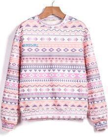 Pink Long Sleeve Tribal Print Sweatshirt