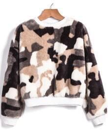 White Long Sleeve Camouflage Crop Sweatshirt