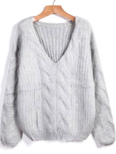 Grey V Neck Loose Cable Knit Sweater