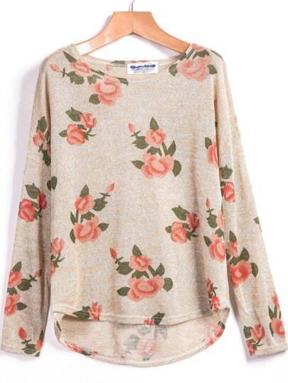 Apricot Long Sleeve Floral Dipped Hem Sweater