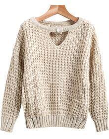 Khaki Long Sleeve Hollow Knit Sweater
