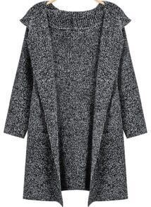 Grey Hooded Long Sleeve Loose Knit Cardigan