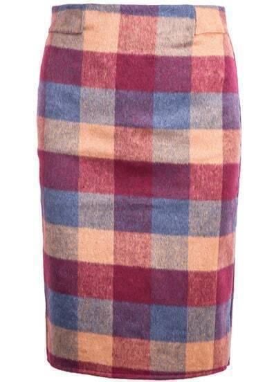 Red Plaid Bodycon Woolen Skirt