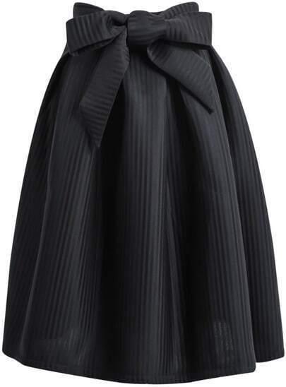 Black Bow Vertical Stripe Skirt