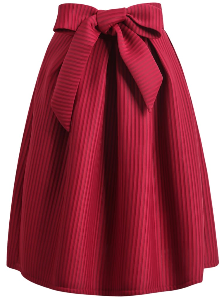 Wine Red Bow Vertical Stripe Skirt Shein Sheinside
