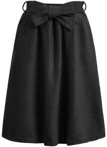 Black Bow Woolen Skirt