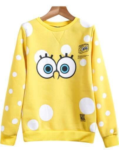 Yellow Long Sleeve SpongeBob Print Sweatshirt