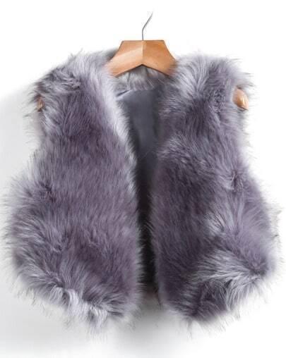 Grey Sleeveless Faux Fur Vest