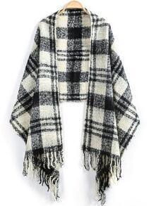 White Plaid Tassel Knit Scarve