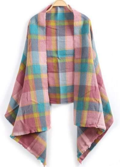 Pink Plaid Classic Knit Scarve