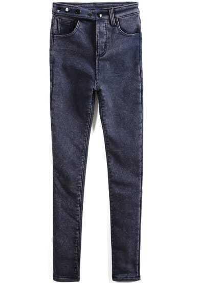 Blue High Waist Pockets Buttons Denim Pant