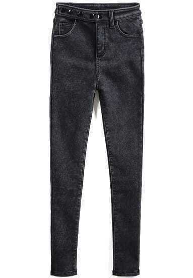 Black High Waist Pockets Buttons Denim Pant