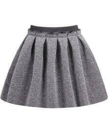 Grey Pleated Flare Skirt