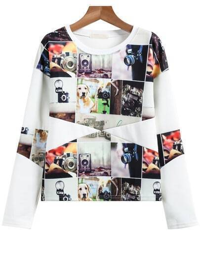 White Long Sleeve Dog Print Sweatshirt pictures
