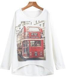 White Long Sleeve Bus Print Sweatshirt