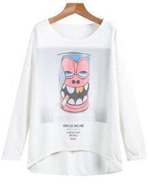 White Long Sleeve Monkey Print Sweatshirt