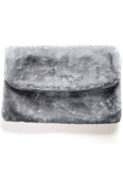 Grey Faux Fur Clutch Bag